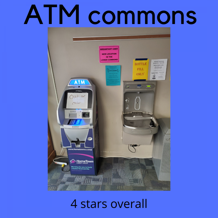 The water fountain by the ATM in the commons