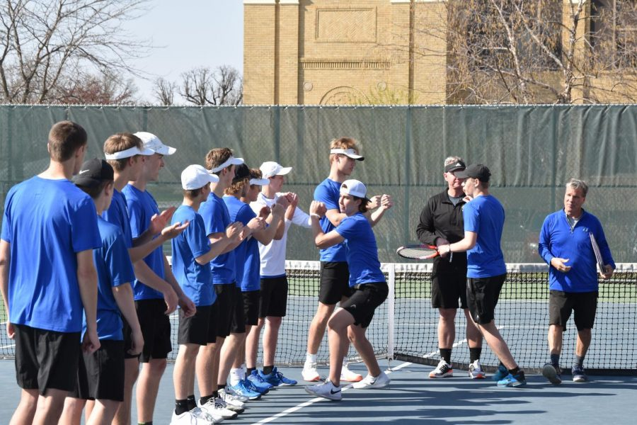 Owatonna Boys Tennis getting introduced prior to their match