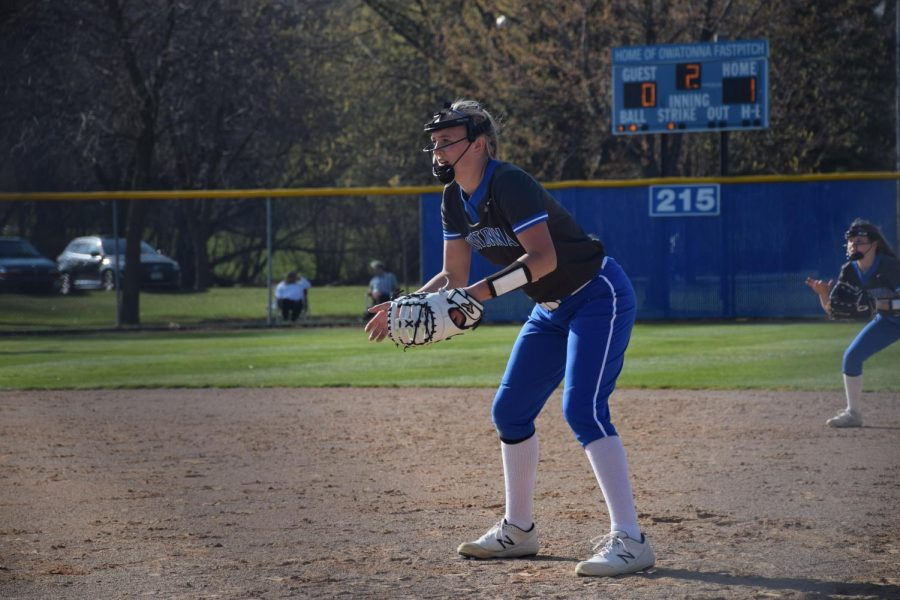 Samantha Bogen is ready for the next play at first.