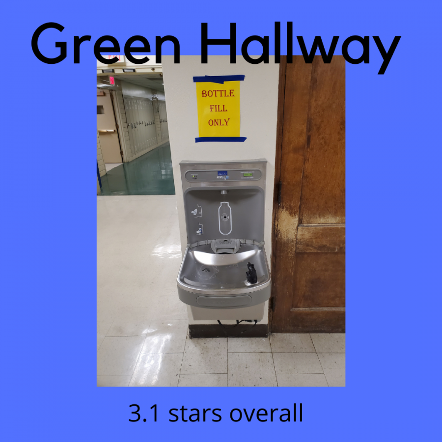 The green hallway water fountain