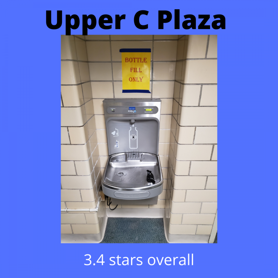 The water fountain located in upper C Plaza
