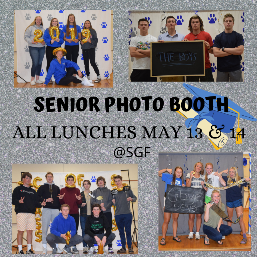 Senior photo booth will take place May 13 & 14 located in the SGF. Grab your friends and stop on in.