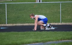 Lane Wagner in the blocks ready for the race.