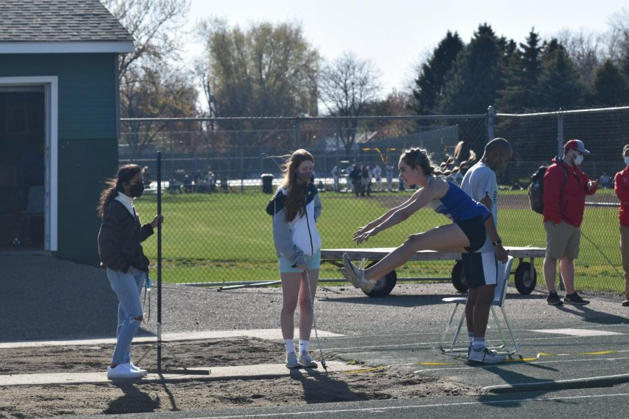 Annika Wiese about to land her long jump