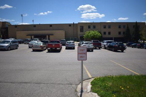 The teacher parking area