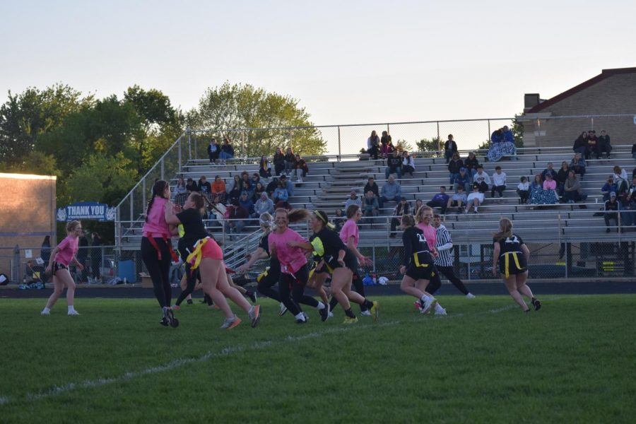 Freshmen girls playing against the junior girls in the first powderpuff game since 2017