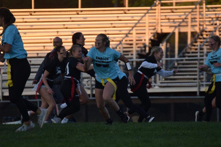 Sophomore Paiton Glynn sprints to avoid a collision with a senior
