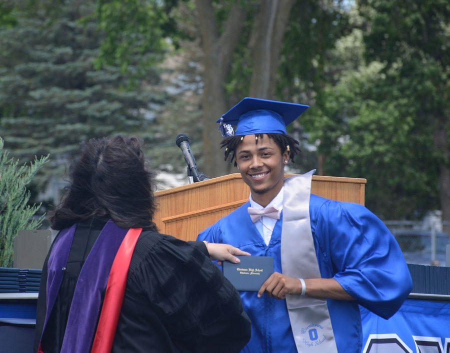 Elijah Jones getting his diploma