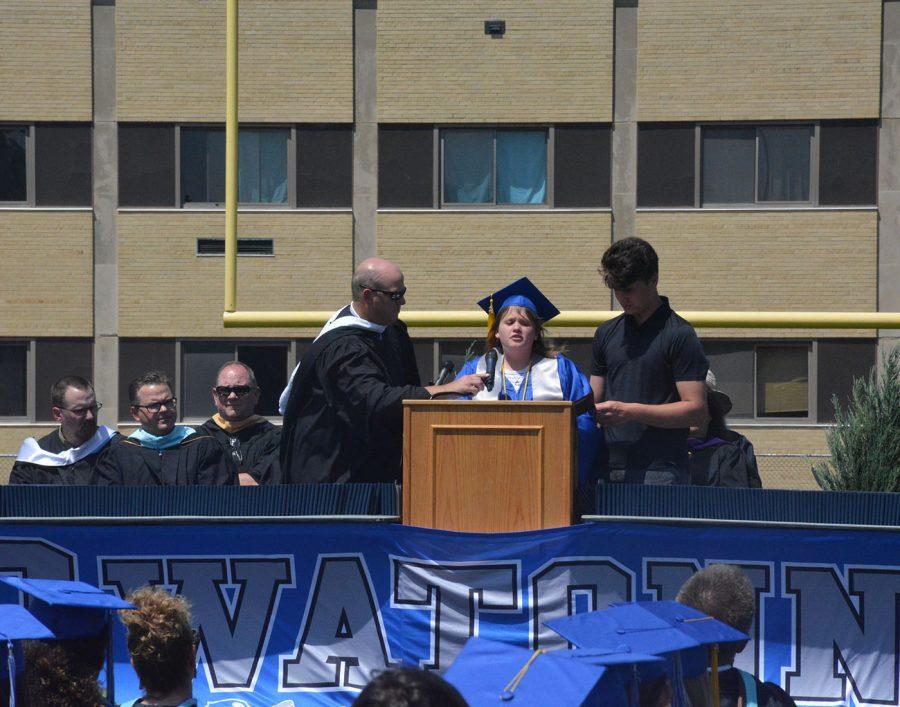 Megan Copeland giving her speech to the Class of 2021