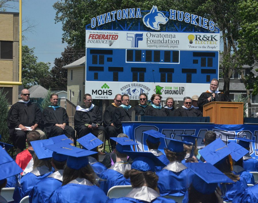Principal Kath talking to the graduating class