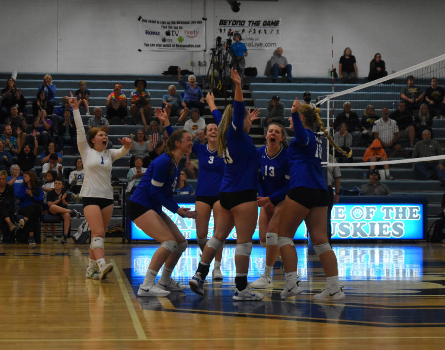 Owatonna+volleyball+team+celebrates+after+winning+the+point