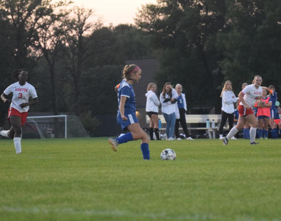 Defender Taylor Schlauderaff sending the ball up the field