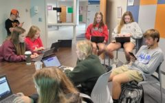 Ms. Baird's senior compass class works on Naviance personality test and college supermatches.