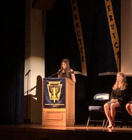 President Daniela Ortiz gives speech at induction