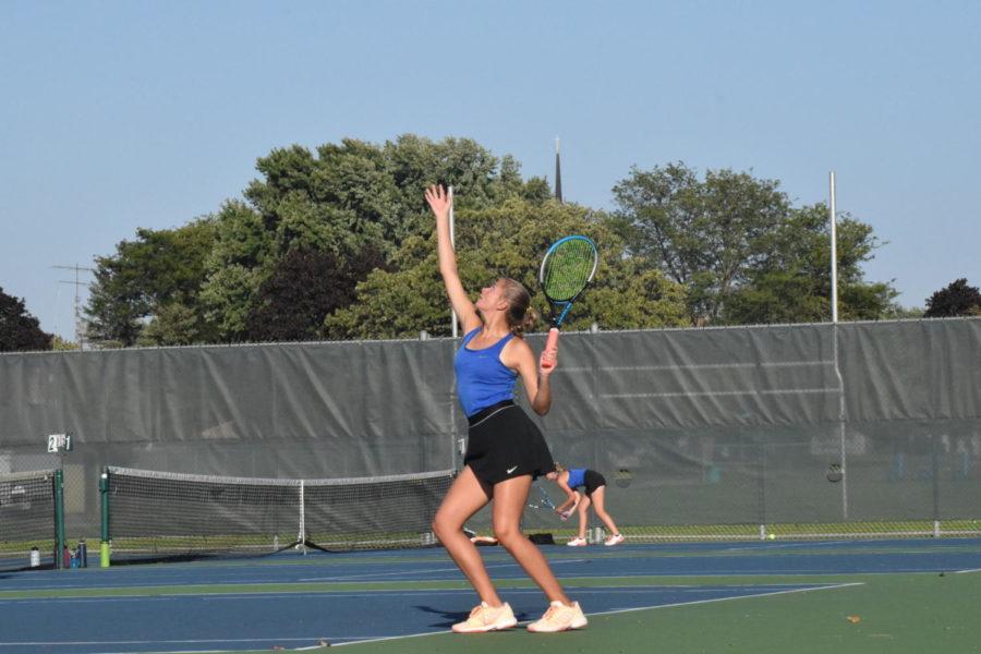 Allison Wasieleski serves the ball to her opponents