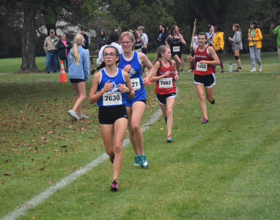 Two Owatonna racers staying neck and neck during the race